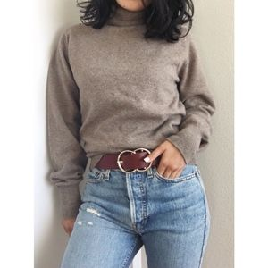 Vintage Wool Turtleneck Sweater - Brown